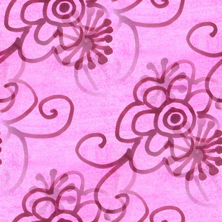 avant: seamless  texture purple leaf watercolor  flowers wallpaper Stock Photo
