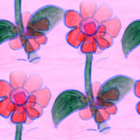 wallpape: seamless  texture red, green leaves  watercolor flowers wallpape