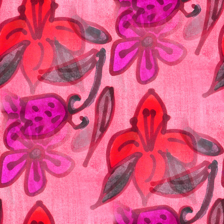 red pink: seamless  texture red, pink leaves watercolor  flowers wallpaper Stock Photo