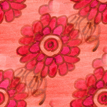 wallpape: seamless  texture red, yellow leaves watercolor flowers wallpape Stock Photo
