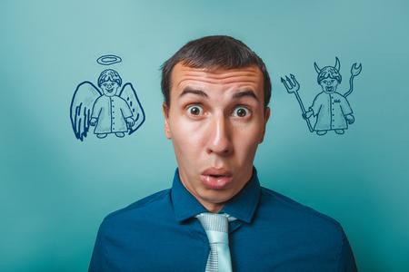 teufel engel: Mann m�nnlich Gesch�ftsmann surprise surprise angel devil demon Infografiken Infografiken Bibelstudium Religions Lizenzfreie Bilder