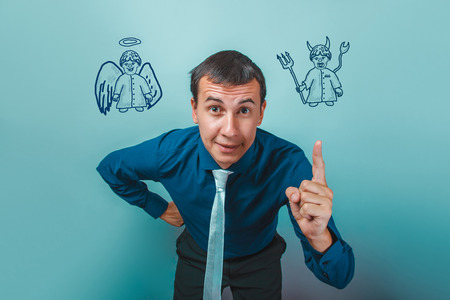 angel and devil: man Male businessman showing finger angel devil demon infographics infographics Bible study of religion