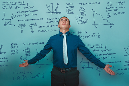 learned: Teacher learned professor arms outstretched looking up science mathematical formulas task Infographics photo studio