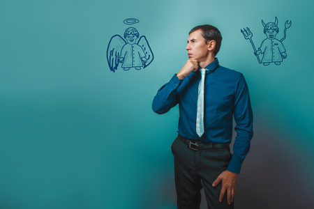 shoulder: businessman man thinking looking away angel devil demon infographics infographics Bible study of religion