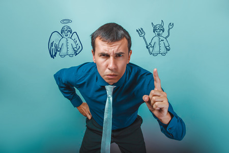 angry angel: Businessman angry man shows his finger angel devil demon infographics infographics Bible study of religion