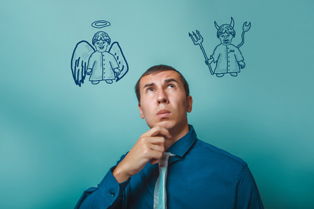 angel and devil: businessman thinking man looking up angel devil demon infographics infographics Bible study of religion