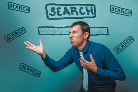 disgruntled: man Male businessman disgruntled disgusted online search Web infographics