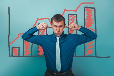 puffed cheeks: businessman man plugged his ears puffed out his cheeks graph growth business strategy infographics studio blue background
