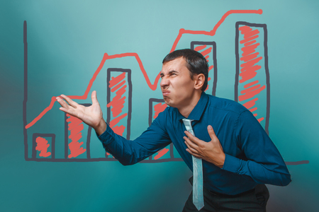 displeased businessman: man businessman displeased disgusted gesture graph growth business strategy infographics studio blue background