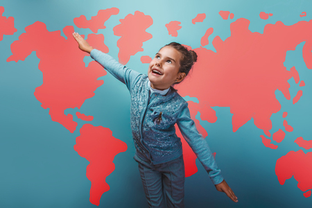 education background: teen girl  her arms flying  behind world map education background