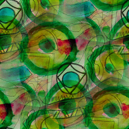 picasso: seamless  background watercolor Picasso Style Green brush color water abstract art