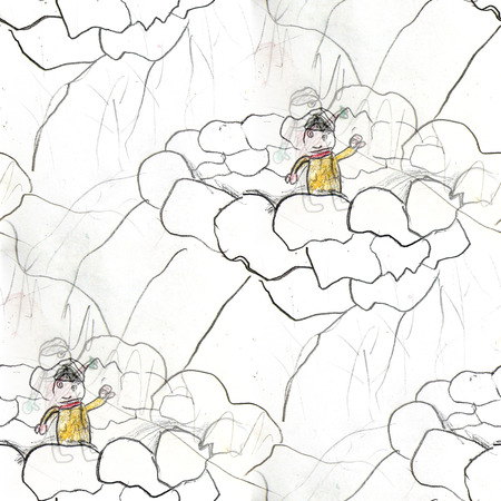 snowballs: seamless  snowballs childhood game background watercolor brush color water abstract art