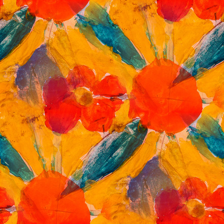 orange flower: seamless  orange flower background  watercolor brush color water abstract art Stock Photo