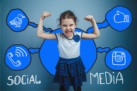 background skype: social media network  infographics set sketch teen girl clenched her fists evil