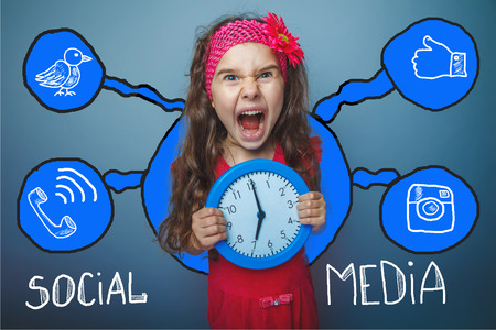 social media network  infographics set sketch teen girl clock keeps screaming