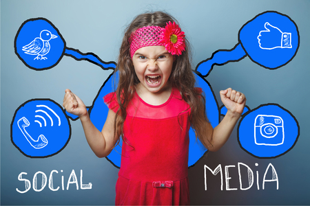 background skype: social media network  infographics set sketch teen screaming angry clenched her fists Stock Photo