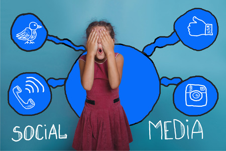 background skype: social media network  infographics set sketch teen she closed her eyes, opened her mouth