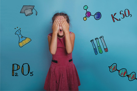 eyes opened: teen girl chemistry teenage student she closed her eyes, opened her mouth sketch formula infographics