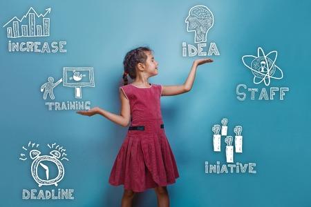 strategy: una vista lateral de una chica adolescente sostiene un discurso y sonríe boceto objetos iconos establecer la estrategia de negocio