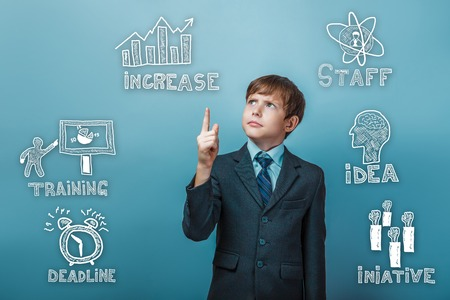 adolescent: businessman adolescent boy points to sketch icons set business strategy