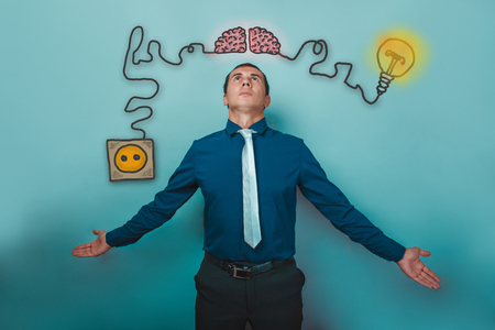 booster: a man in a tie businessman opened his arms brain booster charge plug wires and sketch infographics