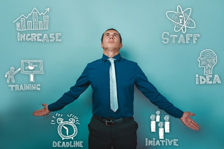set up: businessman man spread his arms out and looking up sketch icons set business strategy Stock Photo