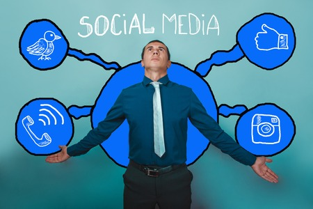 businessman man spread his arms out and looking up deification of social media infographics sketch Internet