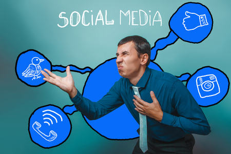 businessman man twisted his face stretched out his hand holding on to the heart of poor health social media infographics sketch Internet Stock Photo