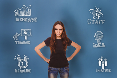 thumbnail: girl dissatisfied face angry and put his hands on her waist thumbnail icons set business strategy Stock Photo
