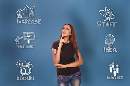 set up: girl looking up  wondered sketch icons set business strategy Stock Photo