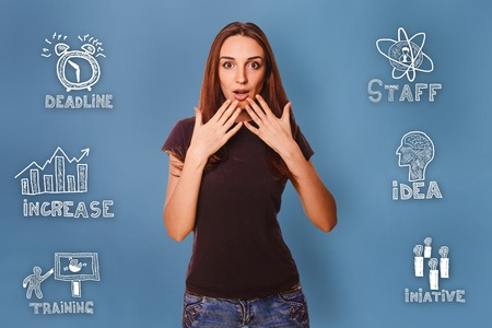 thumbnail: girl opened her mouth surprised hands raised to face thumbnail icons set business strategy Stock Photo