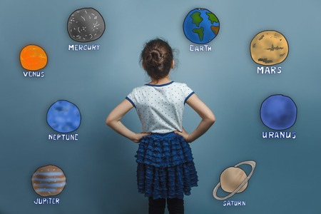 put forward: of adolescence girl put her hands on the sides looking forward turned back the planet of the solar system astronomy