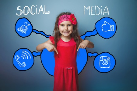 adolescence: adolescence girl showing thumbs down and laughs social media infographics sketch Internet