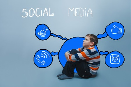 frowning: boy frowning sitting on the floor looking up thinking social media infographics sketch Internet