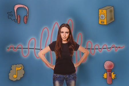 frowned: angry girl put her hand on her waist frowned dissatisfied with the sound wave music radio sketch symbol Stock Photo