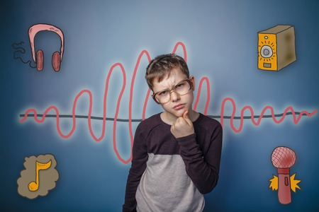 frowned: boy frowned his hand on the chin, tilted his head reflects sound wave music radio sketch symbol