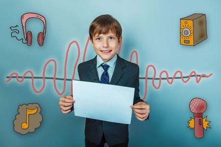 teenaged boy: boy teenaged businessman smiling and holding a white sheet of paper a sound wave music radio sketch symbol