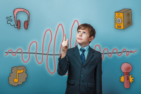 frowned: businessman boy frowned and points a finger up the sound wave music radio sketch symbol