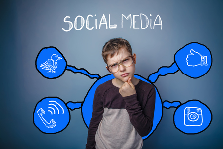 frowned: boy with glasses thoughtful frowned and leaned his face with his fist social media infographics sketch Internet