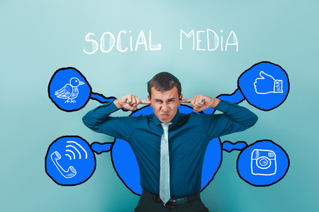 frowned: Businessman covered his ears with your fingers frowned social media infographics sketch Internet Stock Photo