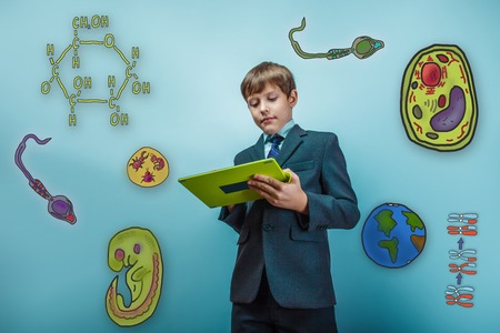 cartoon sperm: Boy in a business suit student working on the tablet keen icons biology education formation of the embryo cell parasite