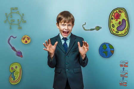 wrinkled face: Boy in a suit style office raised  opened his mouth wrinkled face icon set Education biology of the parasite cell embryo formation
