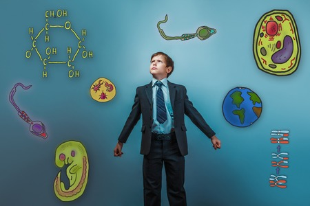 cartoon sperm: boy looking up serious businessman opened his arms Icons biology education formation of the embryo cell parasite Stock Photo