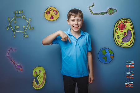 parasite: boy points his finger down and laughing joy fun icons biology education formation of the embryo cell parasite