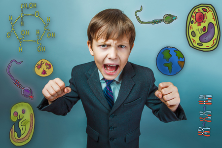 opened mouth: boy screaming businessman clenched fists opened his mouth to fight the evil icon set Education biology of the parasite cell embryo formation