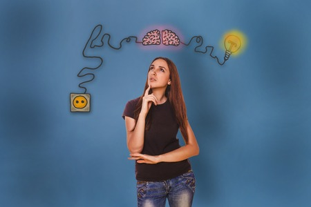 booster: woman he conceived and put her hand on his chin brain booster charge plug wires and sketch infographics