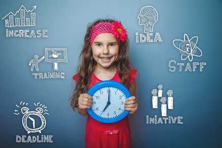 thumbnail: Teenage girl holding a clock and smiling happy thumbnail icons set business strategy