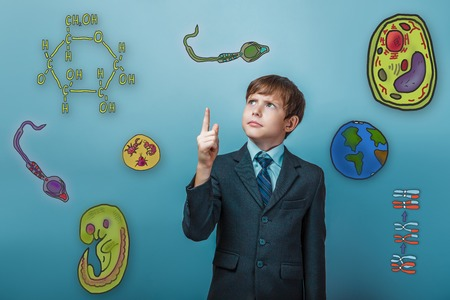 frowned: businessman adolescence boy frowned and shows thumb up icon set Education biology of the parasite cell embryo formation