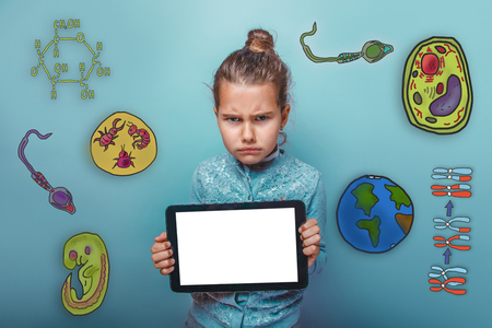 parasite: frowning girl holding a tablet in hands icon set Education biology of the parasite cell embryo formation