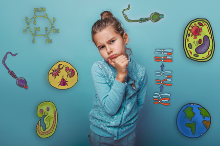 parasite: girl thought holds his chin pressed her lips head turned to the side icon set Education biology of the parasite cell embryo formation Stock Photo